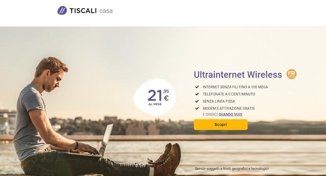 Ultrainternet wireless 100 mega  21,95 attivazione e modem gratis