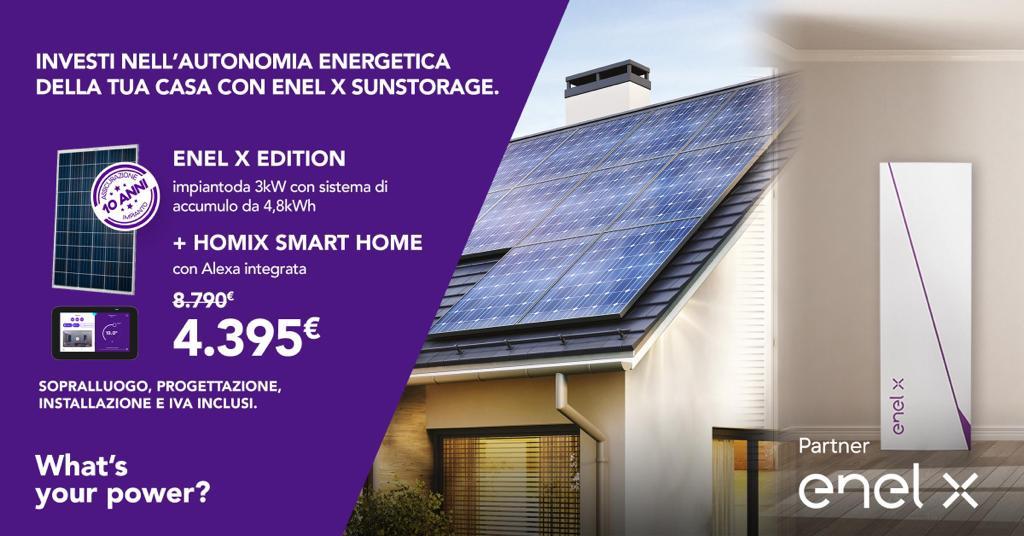 Investi nell'autonomia energetica della tua Casa con Enel X Sunstorage