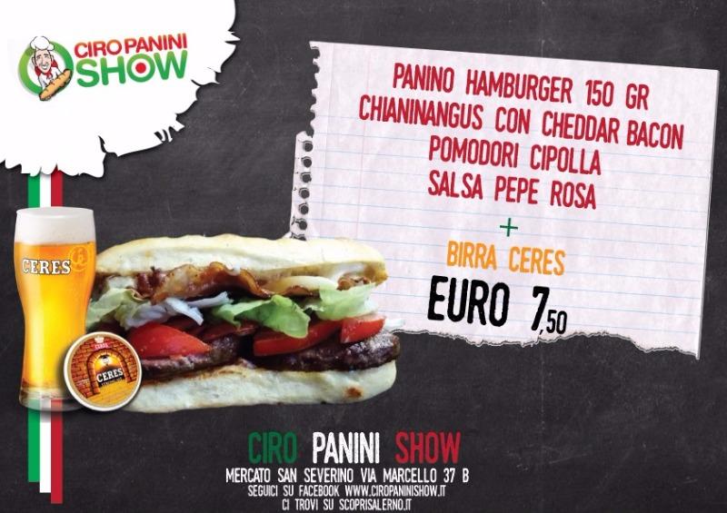 Hamburger 150 gr chianinangus con Cheddar Bacon Pomodori Cipolla Salsa Pepe Rosa più birra Ceres... solo €7,50