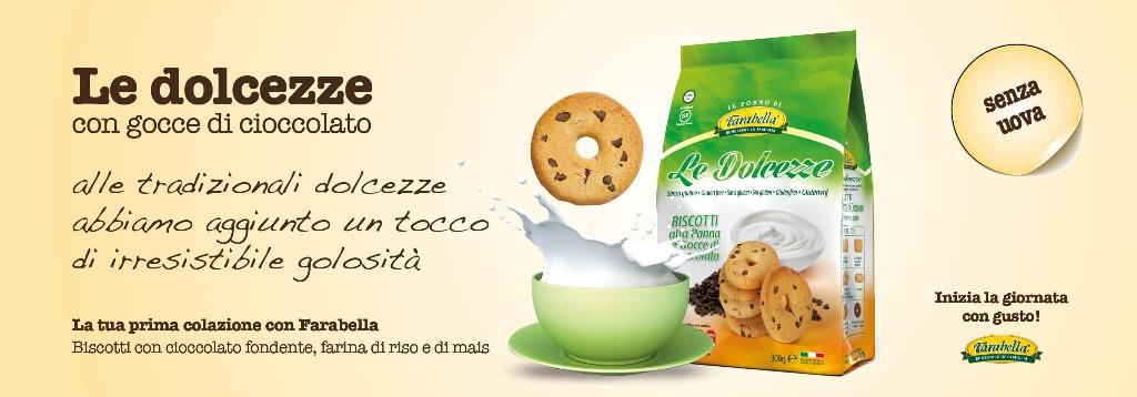 Biscotti senza glutine Farabella LE DOLCEZZE CON GOCCE DI CIOCCOLATO