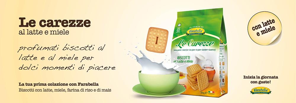 Biscotti senza glutine Farabella LE CAREZZE AL LATTE E MIELE