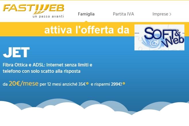 Offerta Fastweb JET a soli 20 € al mese