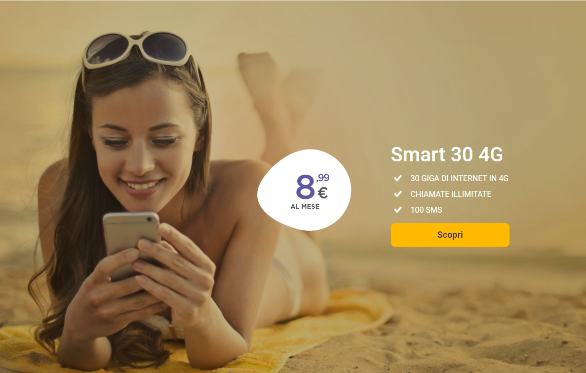 Smart 30 4G 30 GIGA DI INTERNET IN 4G CHIAMATE ILLIMITATE 100 SMS