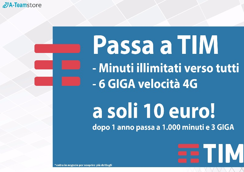 Passa a TIM Minuti illimitati verso tutti 6 GIGA a soli 10 €
