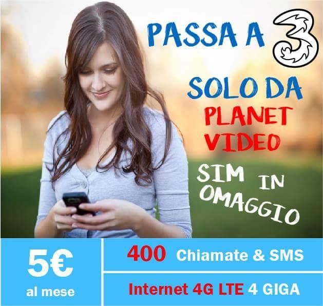 Passa a Tre: 400 minuti e 4gb a soli 5€