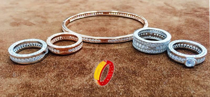 Anello e bracciale simil bvlgari, in argento 925%