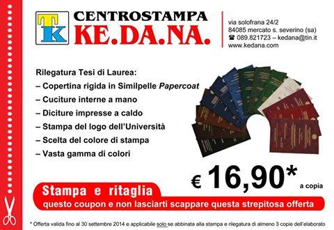 Offerta Rilegatura Tesi di Laurea 16,90 € a copia